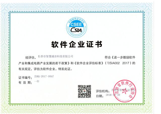 双软企业认定证书